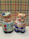 Vintage Fancy Happy Pigs  Salt  Pepper Shakers  Made in Japan  Collectible