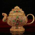 HANDMADE TIBET SILVER INLAID GEMSTONE SURFACE GOLD PLATED TEAPOT OF NEPAL