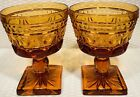 """ VINTAGE INDIANA COLONY PARK LANE GLASS STEMWARE AMBER GOLD ~EC"