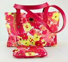 Dooney And Bourke PINK YELLOW Floral Poppies PURSE W CHANGE PURSE Shopper Bag