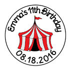 24 PERSONALIZED CIRCUS CARNIVAL THEME TENT FAVOR LABELS ROUND STICKERS 167