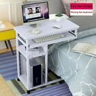 Adjustable Height Rolling Laptop Desk Hospital Bedside Table Cart Over Bed Stand