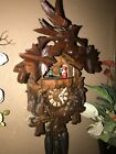 BEAUTIFUL GERMAN BLACK FOREST CARVED SQUIRRELS MUSICAL CUCKOO CLOCK WITH DANCERS