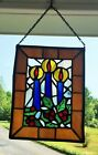 VINTAGE LEADED STAINED GLASS WINDOW HANGING SUN CATCHER CANDLES
