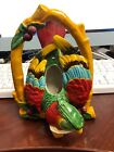 Vintage 1950s Parrot Parakeet Wall Pocket Hanging Planter Japan