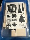 Stampin Up HAPPY CAMPER Stamp New 10 Trailer Bear Nature Camping Fire Hot Dog