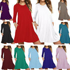 Women Xmas Long Sleeve O-Neck T-Shirt Casual Party Swing Skater Loose Red Dress