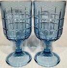 Set Of 2 ~ Anchor Hocking Glass Tartan Light Blue 6 3/4