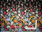 Field Of Dreams Wild Flower Border Black Cotton Fabric Kanvas Studio By The Yard