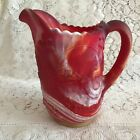 Imperial Red Slag Glass Pitcher with Windmill Pattern