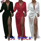 Women's Long Sleeve V-Neck Sexy Side High Slit Maxi Dress Cocktail Ball Gown US