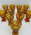 LOT OF 11 VINTAGE INDIANA GLASS CO. AMBER SQUARE-FOOTED WATER/WINE GOBLETS 4.5 T