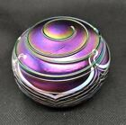 Terry Crider Art Glass Round Paperweight Purple Iridescent Signed Threaded - WOW
