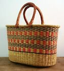 African Storage Basket Leather Handles Artisan Made Woven Global Natural Fiber