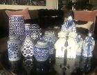 Blue White Chinoiserie Asian Chinese Collection 11 Pieces