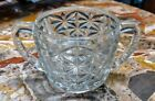 Vintage Anchor Hocking Clear Glass Sugar Bowl Stars Bars D Handle Free Shipping