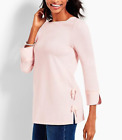 TALBOTS BABY PINK 3 4 SLEEVE ENVELOPE NECK SIDE BOWS COTTON TOP TEE PLUS Sz 0X