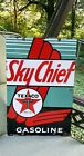 TEXACO SKY CHIEF porcelain sign vintage GASOLINE brand petroleum gas pump plate