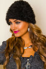 Sexy Miss Ladies Girly Fluffy Cap Beanie Hat Franzengarn Knitted Cap Black