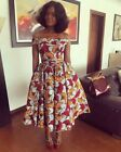 US African Style Womens Dress Floral Sexy Off Shoulder Knee Length Prom Dresses