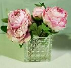 Nearly Natural 4577 Peony in Glass Vase NEW