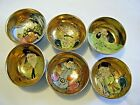 Vtg Set 6 Japanese Satsuma Pottery Individual Salt Sake Cup Gold Hand Painted