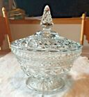 WEXFORD  Diamond Glass Pedestal Footed Candy / Serving Bowl with Finial Top Lid