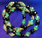 VINTAGE ART DECO GRADUATED CRYSTAL LUSTRE GLASS NECKLACE 24 LONG