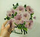 Beautiful 2003 Signed Peggy Karr Fused Glass Plate with Petunias 11 inch Large