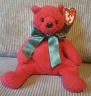 Ty Beanie Baby Mistletoe The Red Holiday Bear with Green Ribbon, 2001, MWMT