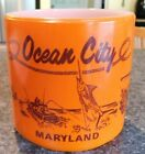 Vintage Federal Orange Milk Glass Mug~OCEAN CITY MARYLAND~Souvenir/Cup