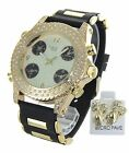 Men Hip Hop Gold Tone Rapper;s Silicon Band Watch Micro Pave  Earring