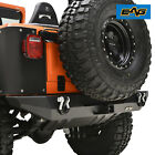EAG Black Textured Stubby Rear Bumper with D Ring Fit for 76 86 Jeep Wrangler CJ