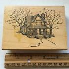ART IMPRESSIONS USED RUBBER STAMPS OLD COUNTRY FARM HOUSE PORCH TREES ROAD