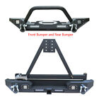 For Unlimited 87-06 Jeep Wrangler TJ Front Bumper + Rear Bumper with Tire Frame