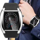 Men's Fashion LED Light Flash Turbo Speedometer Sports Car Dial Meter Watch Gift
