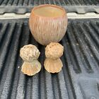 Frankoma #48H Wheat Shock Salt And Pepper Shakers And Dish