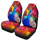 Universal Size Front Set Car Seat Covers Black Tiger Wolf Leopard Peacock Design