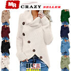 US Womens Long Sleeve Knitted Sweater Jumper Cardigans Knitwear Autumn Tops