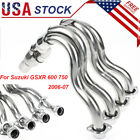 Chrome Exhaust Downpipes Header Pipe For Suzuki GSXR 600 750 2006 2007 Stainless