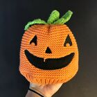 Carter's Infant Pumpkin Face Orange Knit Beanie Hat Green Stem on Top 3-9M