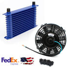 Aluminum 15 Row Engine Trans Transmission 10AN Oil Cooler With 12V 8 Inch Fan