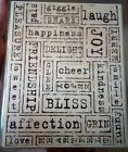 XL RUBBER STAMP Joy Merry Love Sweet Pleasure Kindness Bliss Smile Funny Delight