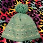 Wigwam Vtg 80s Ski Hat Teepee Aqua Blue Purple Hearts PomPom 100% Wool USA