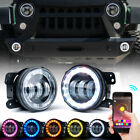 Xprite 4 60W CREE LED Fog Lights With RGB Halo for 07 18 Jeep Wrangler JK