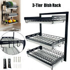 3 Tier Stainless Steel Kitchen Tableware Wall Dish Drying Storage Rack 3 Tray US