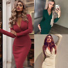 Womens V Neck Bodycon Long Sleeve Mini Dress Casual Evening Party Cocktail Club