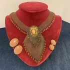 Stunning Vintage Goldtone Mesh Necklace Collar Choker Amber Glass Beads Set