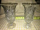 2 Heavy Clear Crystal 7 Hurricane Footed Taper Candle Holder Vase Pedestal
