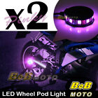 2x Pink 360 Degree Cycle Rim Wheel SMD LED Pod Light For Buell Motorcycles